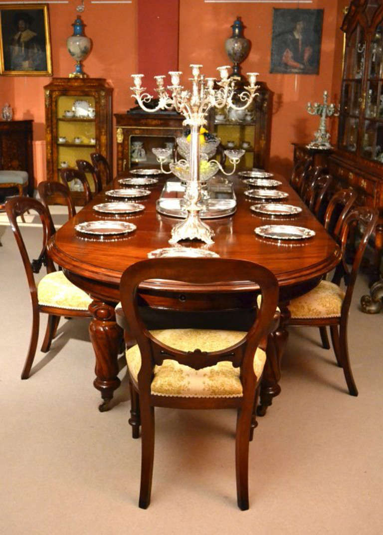 Antique 12ft Victorian Dining Table And 12 Chairs