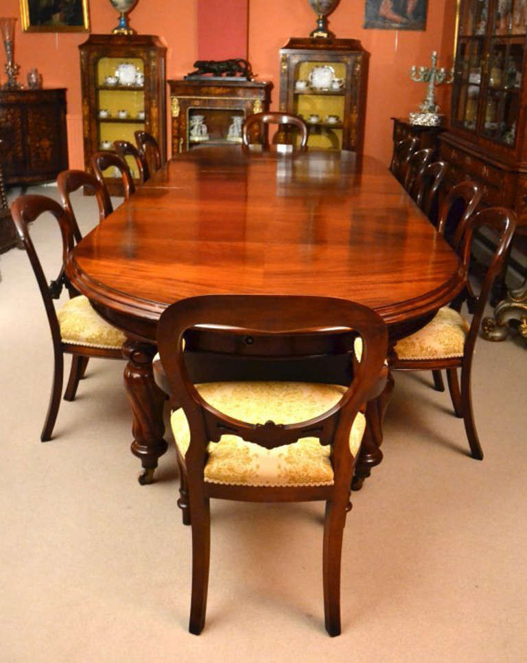 Antique 12ft Victorian Dining Table & 12 chairs c.1860  In Excellent Condition In London, GB