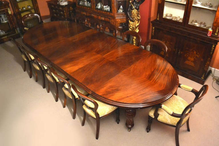 antique 12ft victorian dining table and 12 chairs c 1860