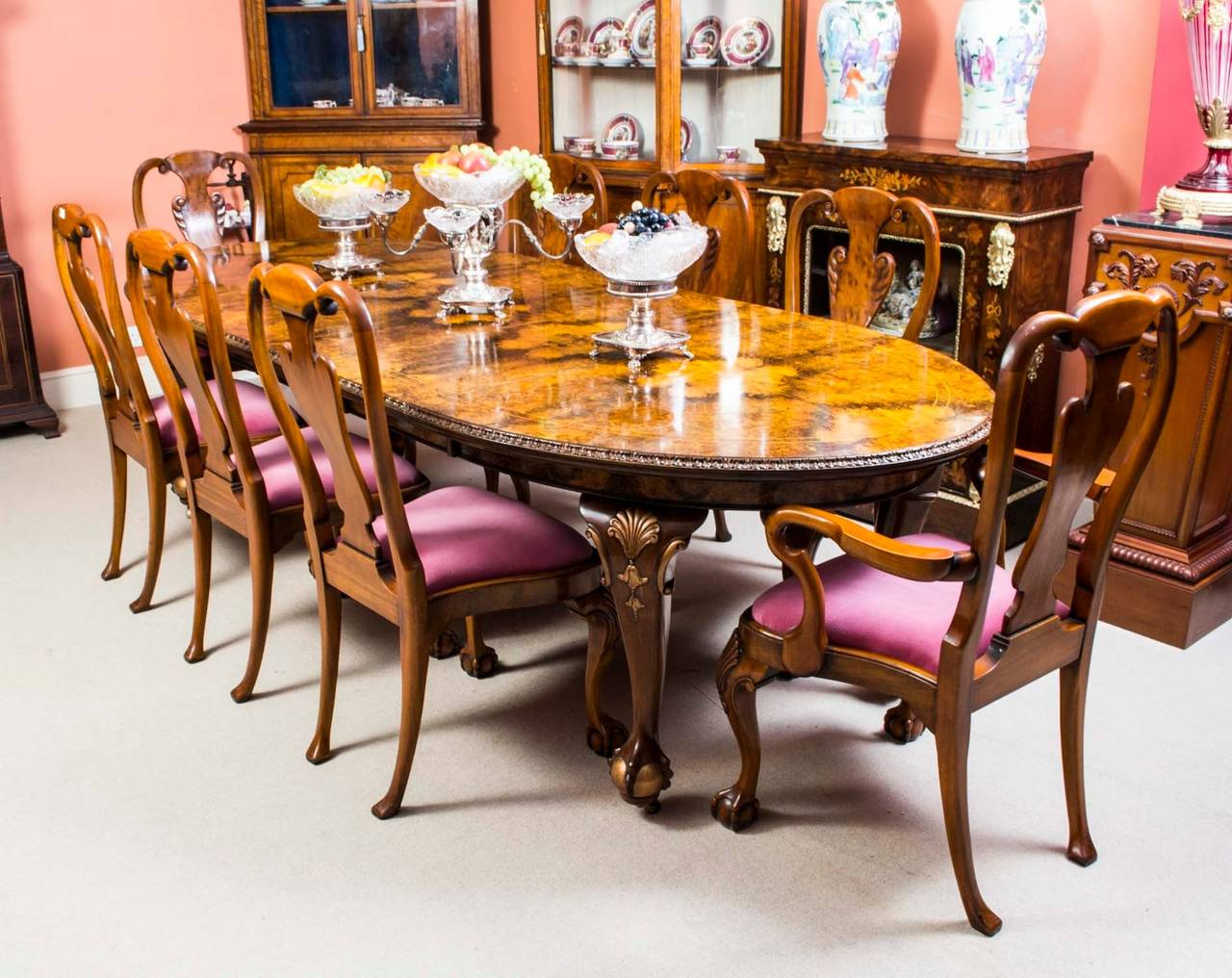 Antique Queen Anne Style Dining Table and Eight Chairs ...