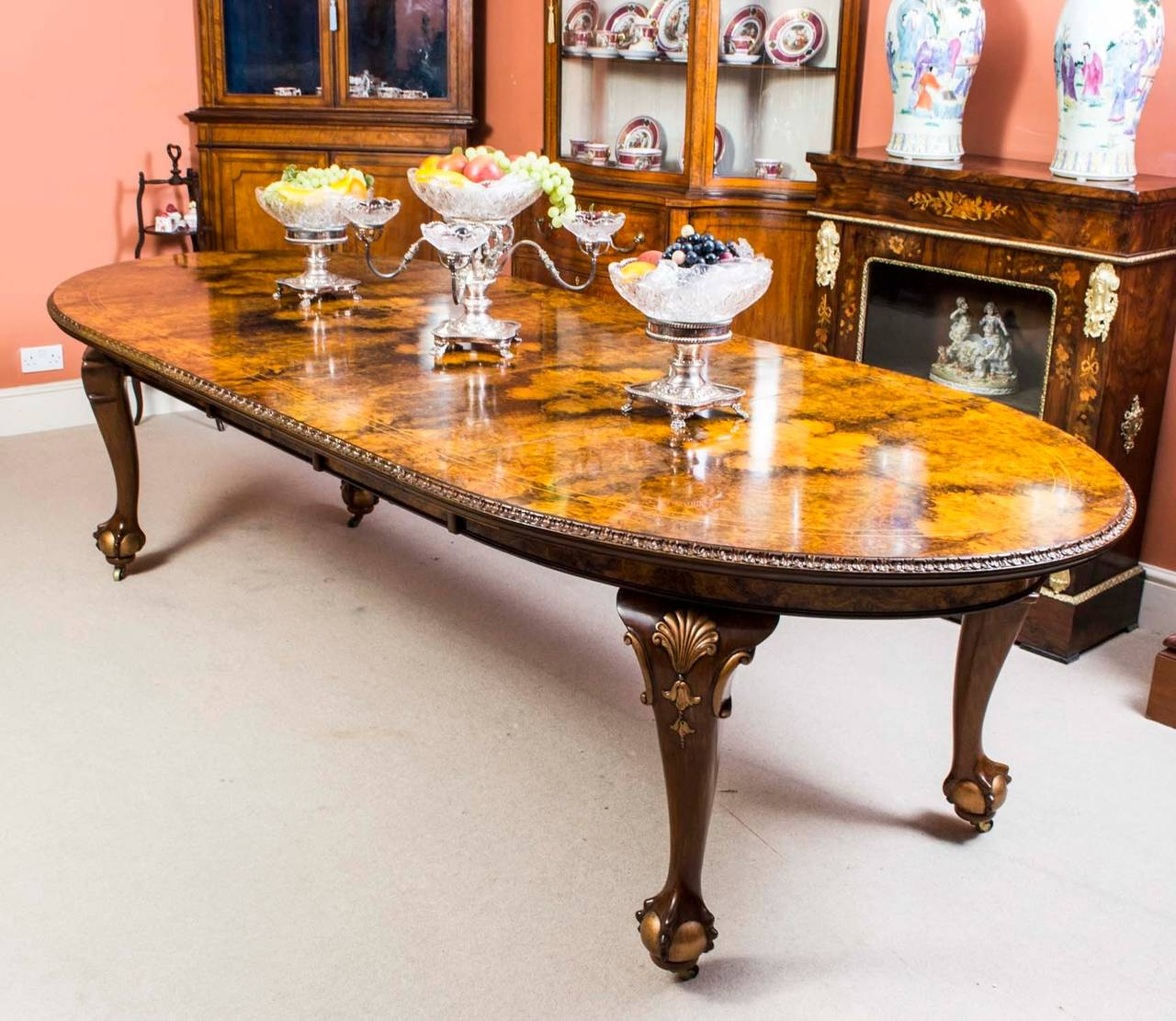 Wonderful English Antique Queen Anne Style Dining Table And Eight Chairs, Circa 1920  For Sale