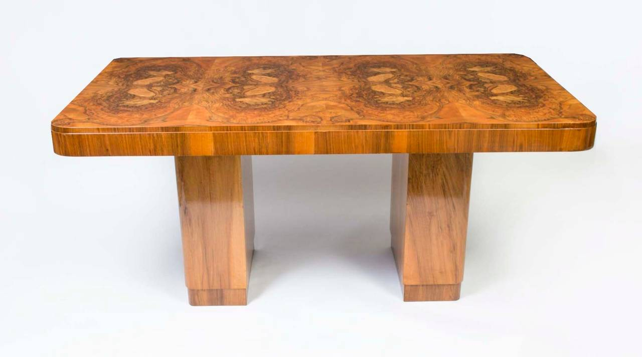 Antique Art Deco Walnut Dining Table and Six Chairs circa  : 3l from www.1stdibs.com size 1280 x 712 jpeg 53kB