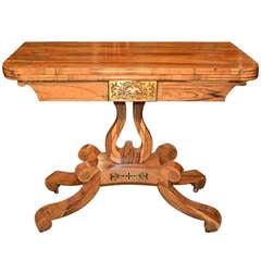 Antique Regency Coromandel Brass Inlaid Card Table