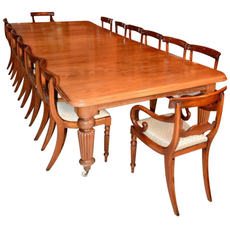 12 foot dining room table | Antique 12ft Mahogany Dining Table c.1850 and 16 Chairs at ...