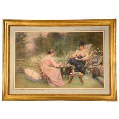 Antique Late Victorian Watercolour by Maude M Turner 19th C