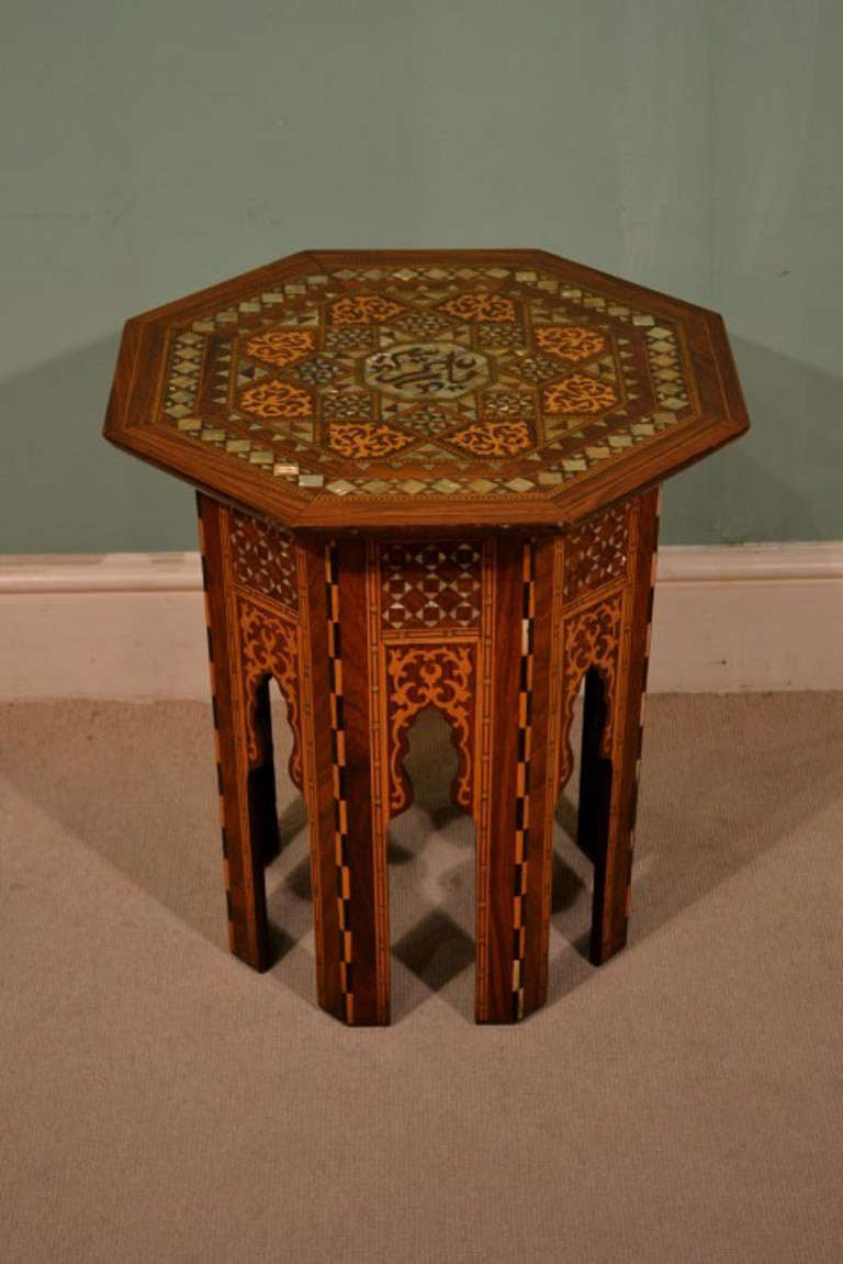 Antique Pr Syrian Mother Pearl Inlaid Occasional Tables At