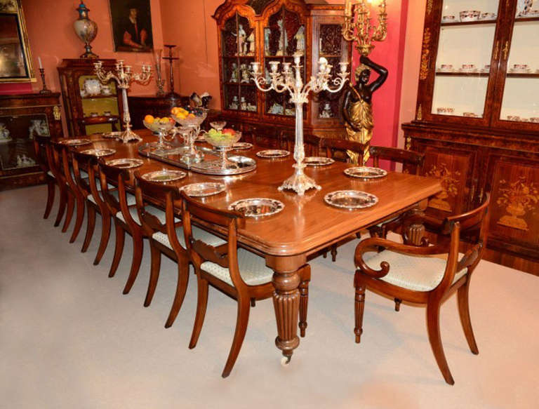 Antique 12ft mahogany dining table and 16 chairs at for 12 foot long dining room table