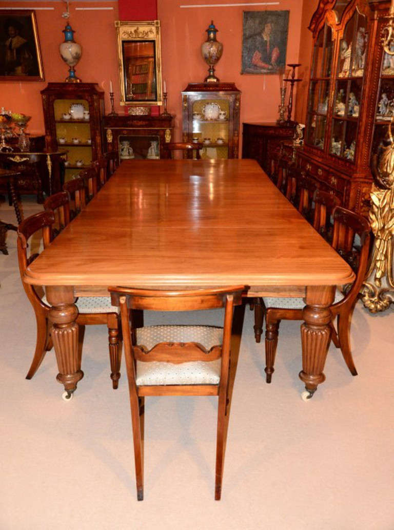 Antique 12ft mahogany dining table and 16 chairs at for 5 foot dining room table