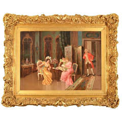 """Antique Italian Oil Painting, """"The Handsome Eavesdropper"""""""