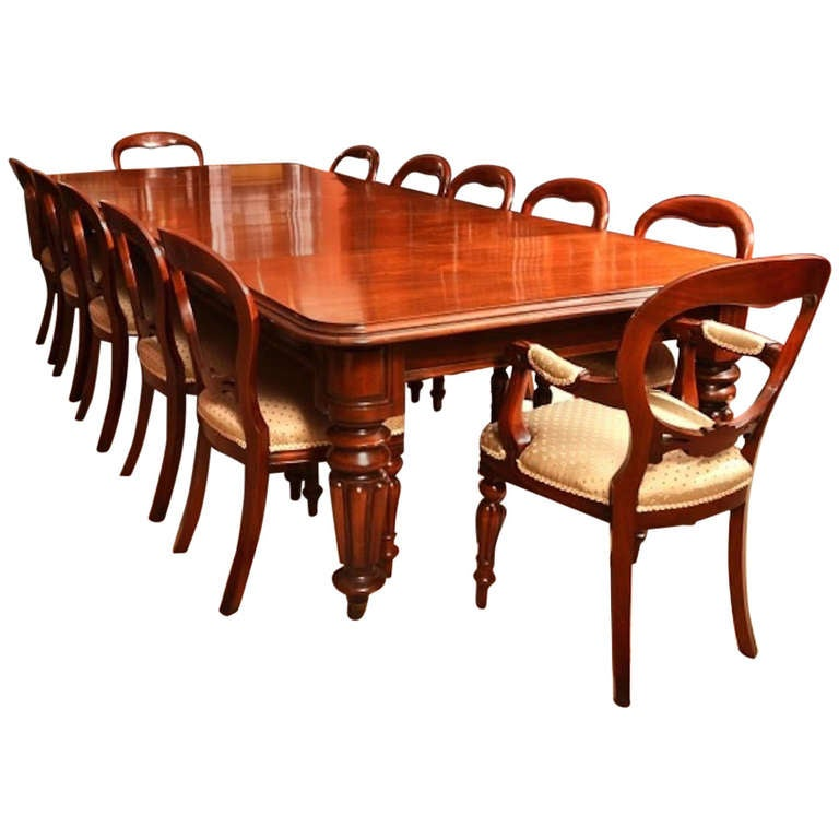 Vintage victorian mahogany dining table and 12 chairs at for 12 chair dining table set