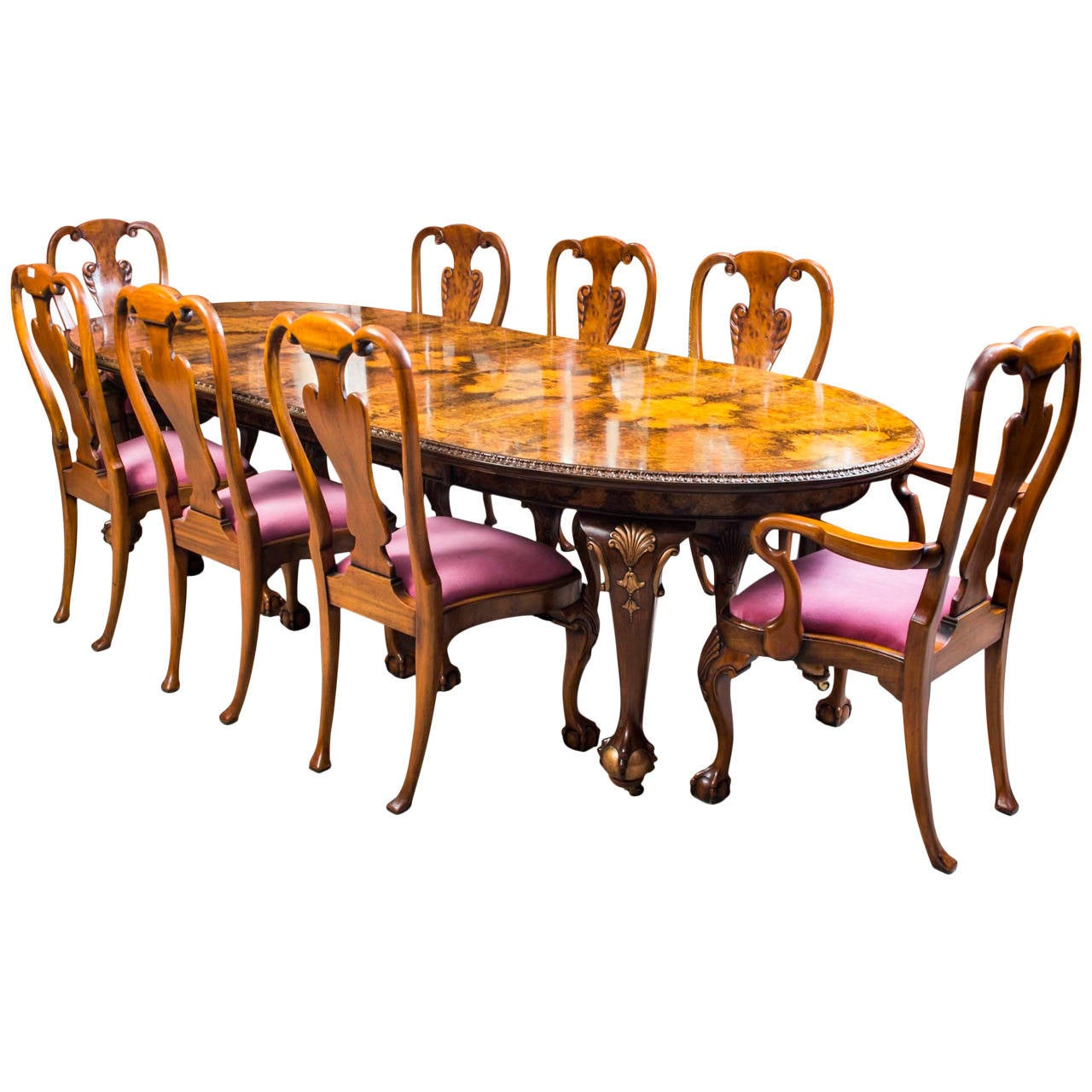 Antique Queen Anne Style Dining Table And Eight Chairs, Circa 1920 For Sale