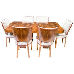 Antique Art Deco Walnut Dining Table and Six Chairs, circa 1920