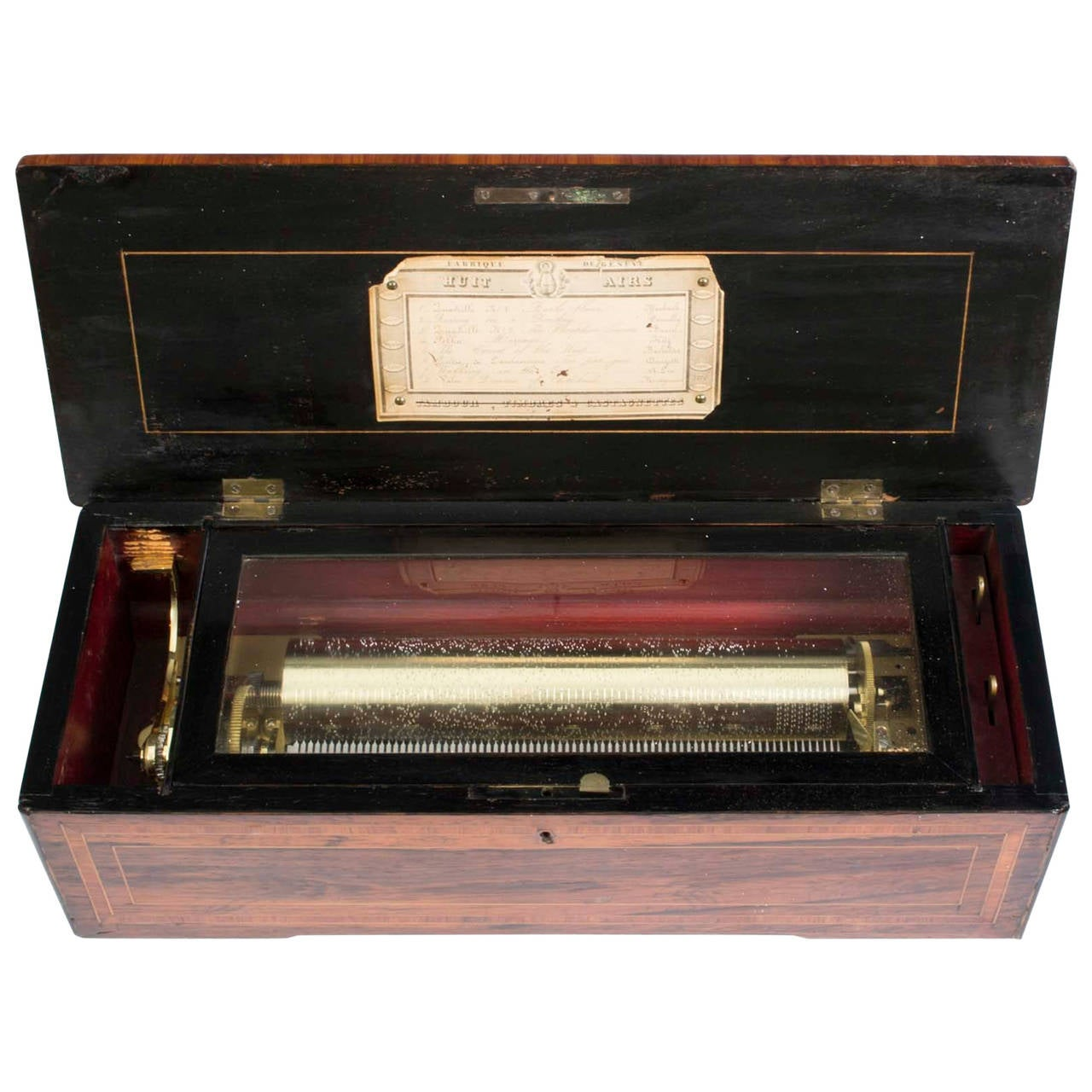 19th Century Swiss Eight Air Rosewood Cylinder Box