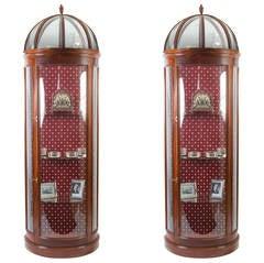 Vintage Pair Dome-Top Half Round Display Cabinets
