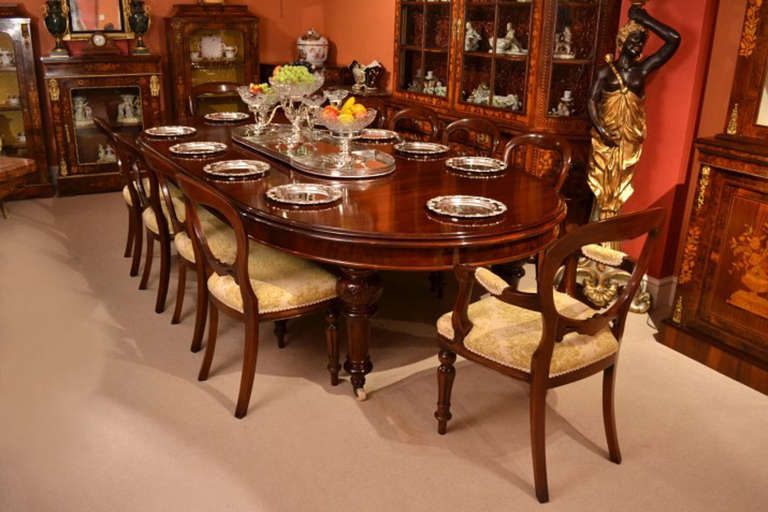 Antique 10ft victorian dining table and 10 chairs for Antique dining room tables