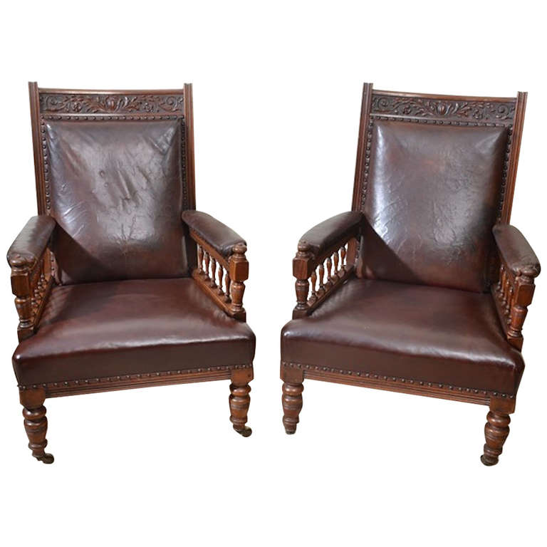 19th Century Pair of English Leather Armchairs