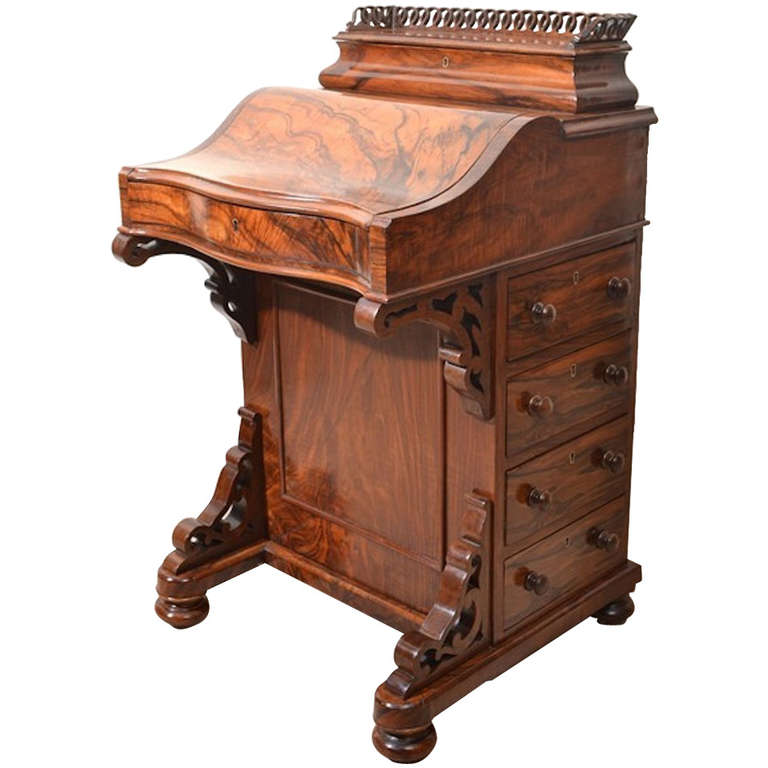 Antique Victorian Burr Walnut Davenport Desk 1 - Antique Victorian Burr Walnut Davenport Desk At 1stdibs