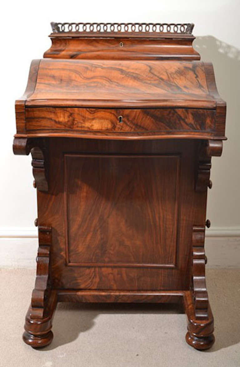 Antique Victorian Burr Walnut Davenport Desk 2