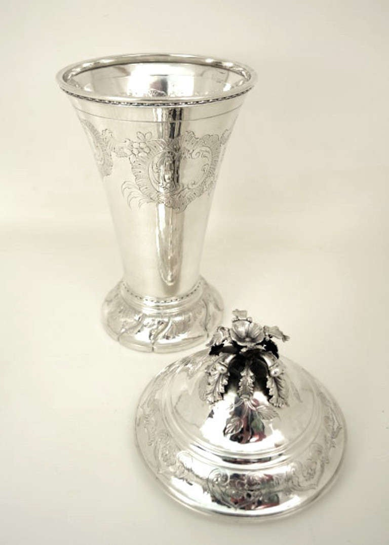 Antique Sterling Silver Cup And Cover By Tiffany And Co