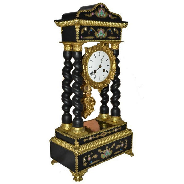 19th Century French Gilt Bronze Boulle Portico Clock
