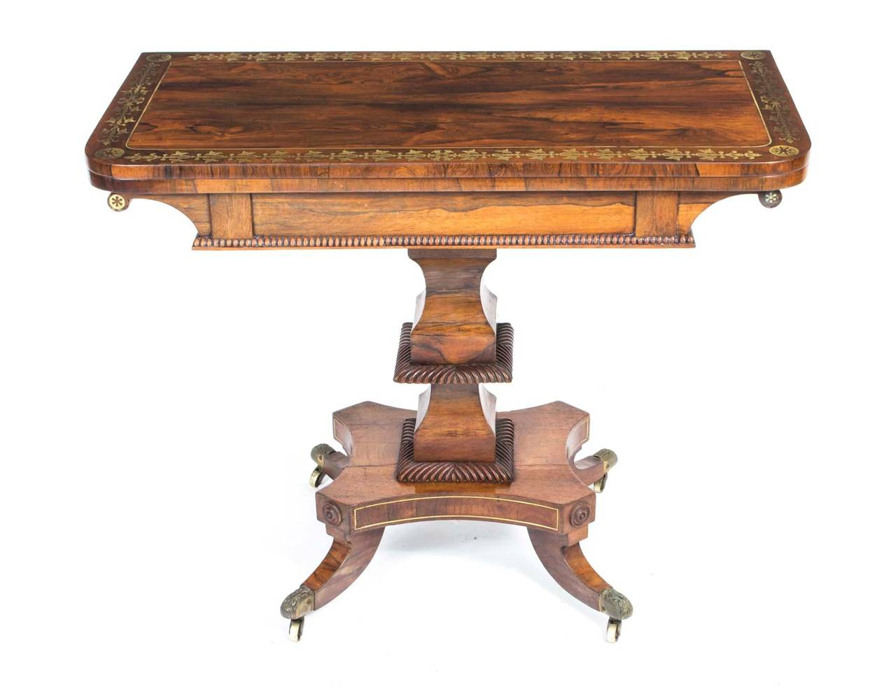 Antique card table regency card table inlaid card table antique - Antique Regency Rosewood Brass Inlaid Card Table C 1815 2