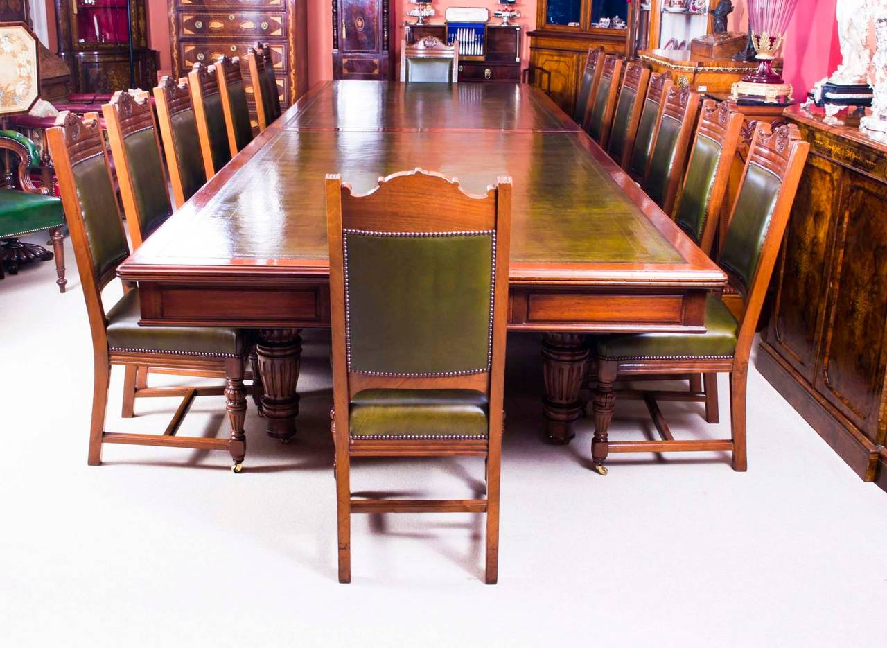 Victorian furniture table - Antique Victorian Boardroom Table With 16 Chairs Circa 1850 2