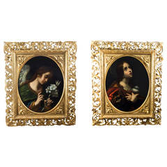 Antique Pair Oil on Canvas After Carlo Dolci c.1860