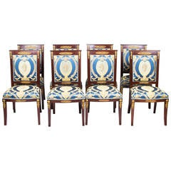 Antique Empire Style Eight Mahogany Ormolu Chairs, circa 1920
