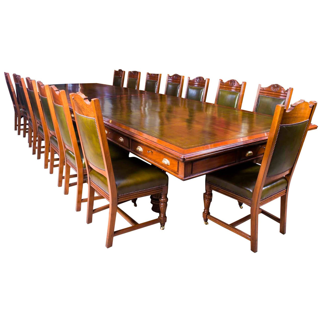 antique victorian boardroom table with 16 chairs circa 1850 at 1stdibs. Black Bedroom Furniture Sets. Home Design Ideas