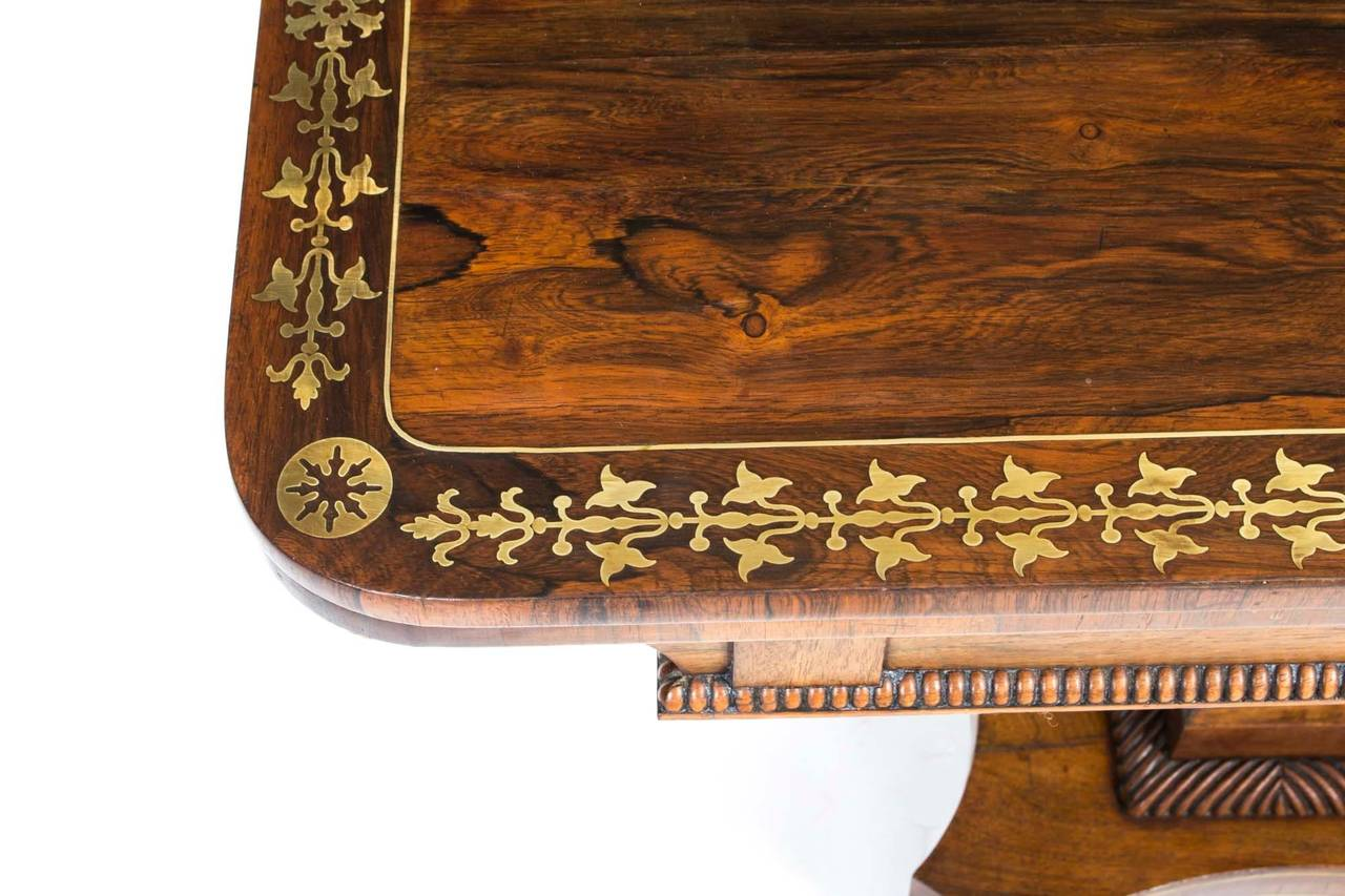 Antique card table regency card table inlaid card table antique - Antique Regency Rosewood Brass Inlaid Card Table C 1815 3