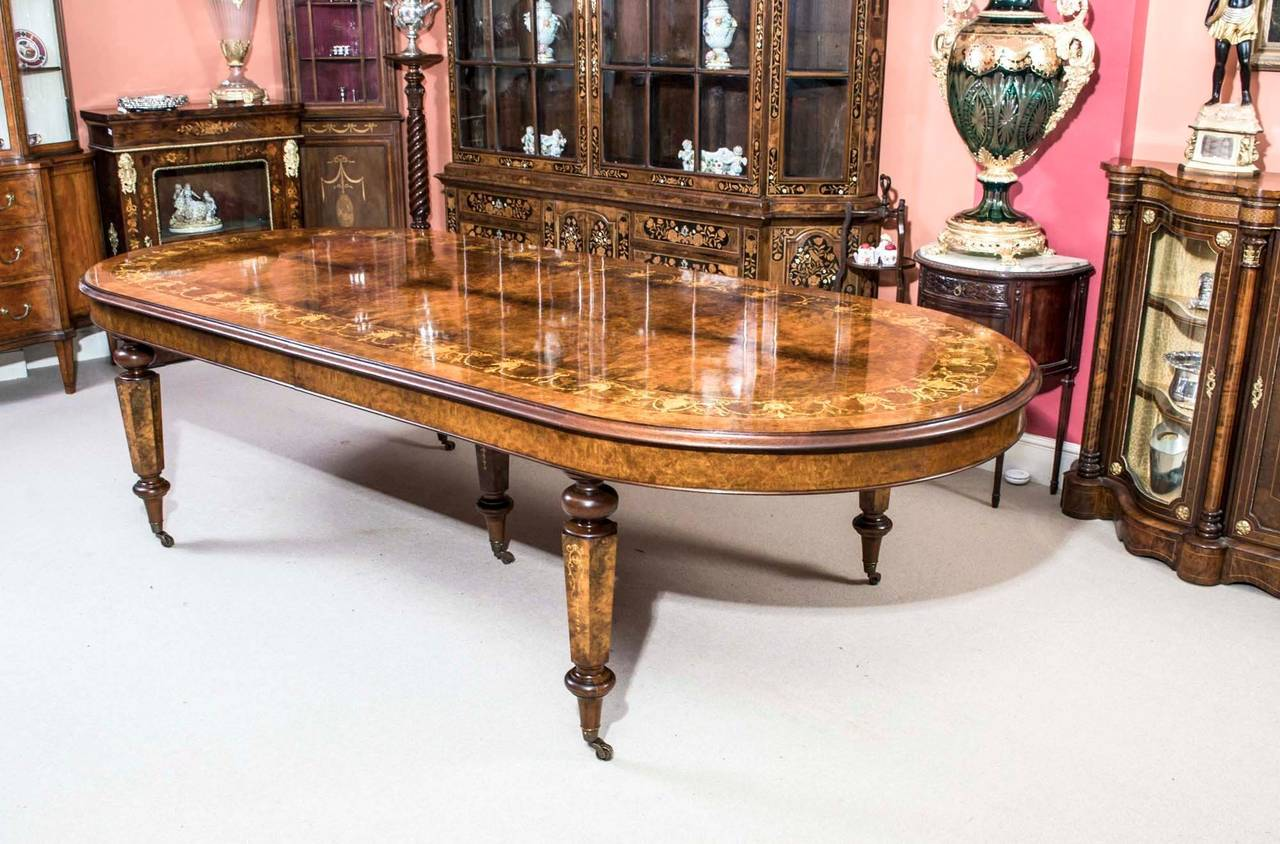 Vintage Burr Walnut Inlaid Dining Table With 14 Chairs At