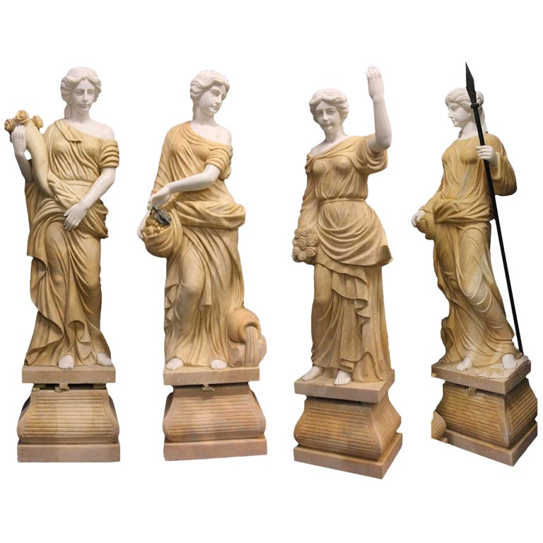 Stunning Life Size Set Of Four Seasons Marble Garden Statues For Sale