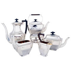 Antique English Silver Five Piece Tea and Coffee Set