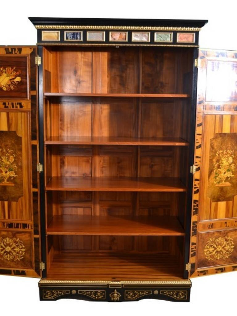 Antique Pair French Marquetry Cabinets Wardrobes image 4