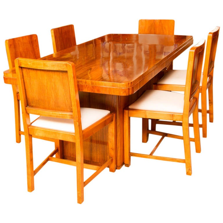 Antique Art Deco Walnut Dining Table And Six Chairs Circa