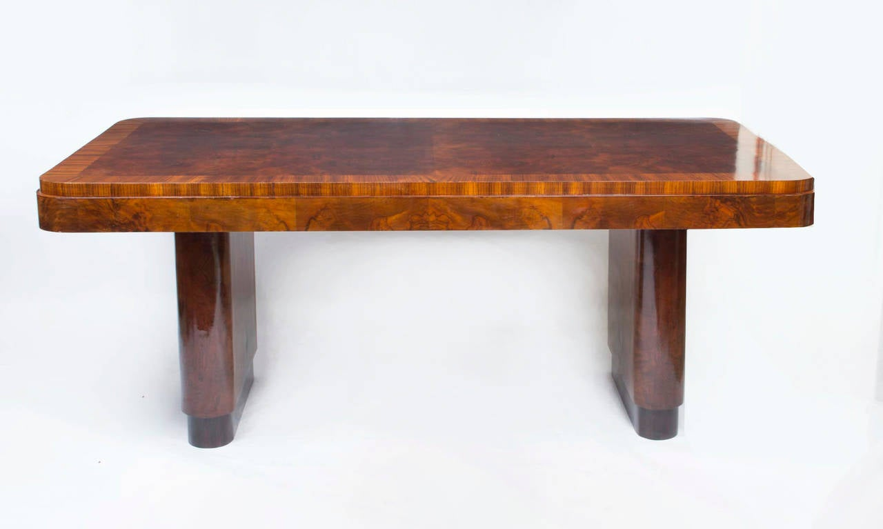 this antique art deco walnut rosewood dining table with six chairs is