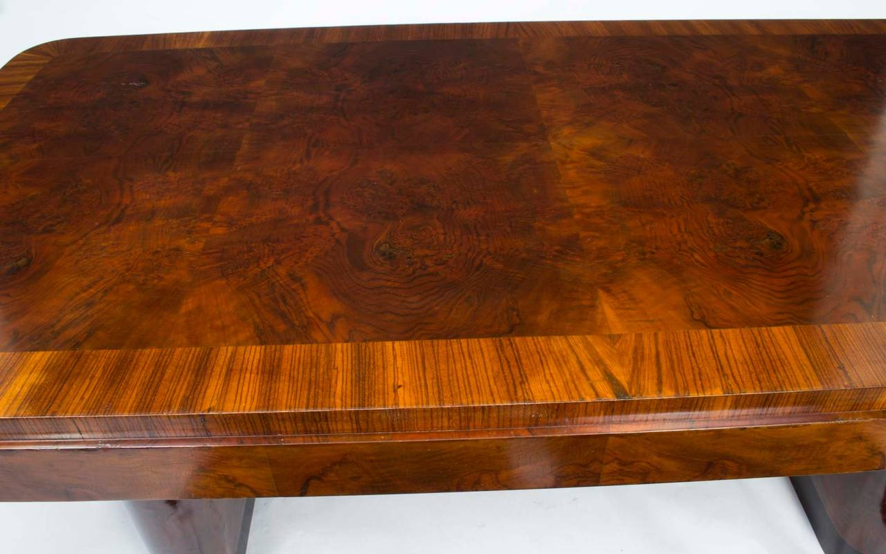 Antique Art Deco Walnut Rosewood Dining Table With Six