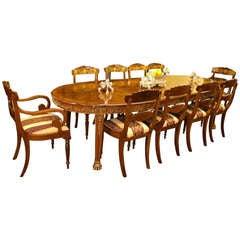 Antique Walnut & Ormolu Dining Table & 10 chairs c.1920