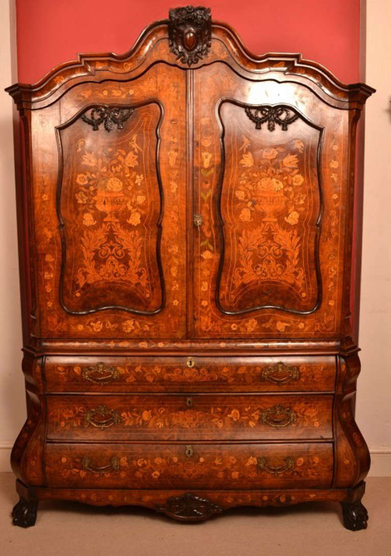 Antique Dutch Marquetry Bombe Cabinet Armoire c.1780 2