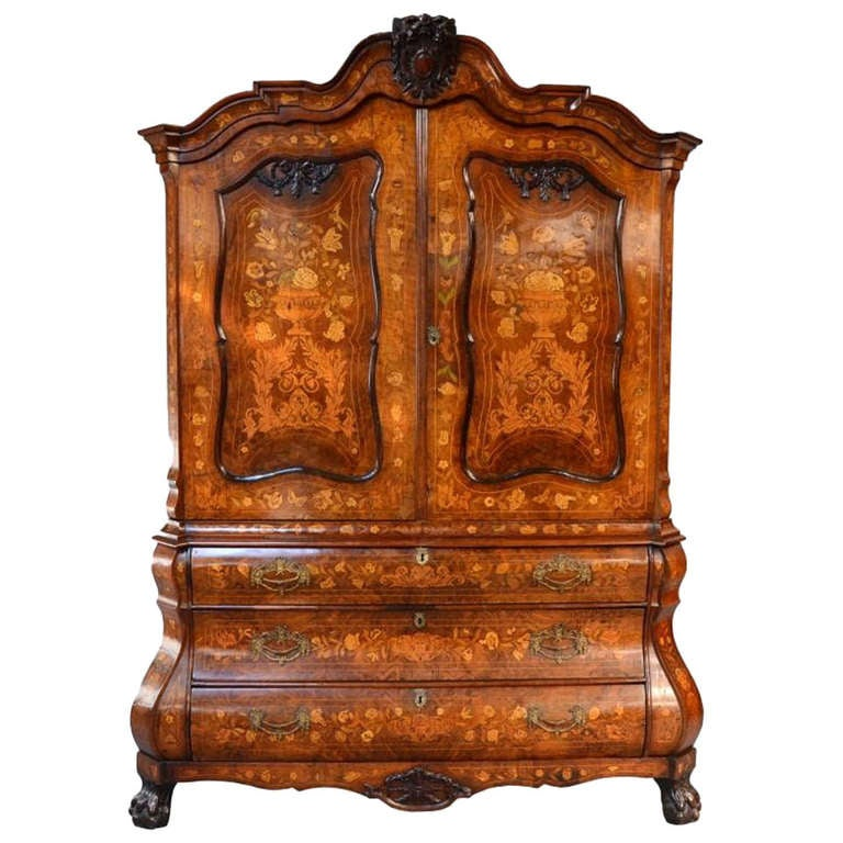 Antique Dutch Marquetry Bombe Cabinet Armoire c.1780