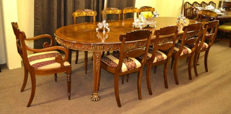 10 chair dining room set antique walnut and ormolu dining table and 10 chairs c 7257