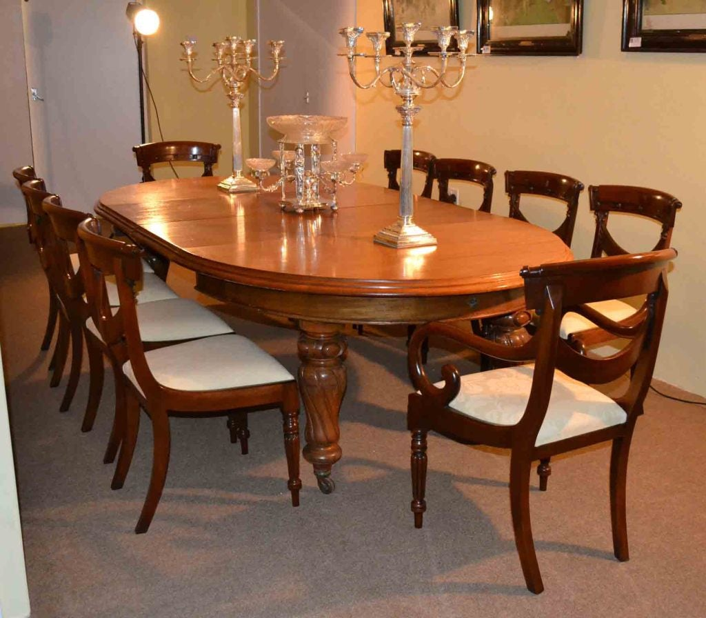 12 Foot Dining Room Tables: Antique Victorian Dining Table And 10 Chairs Circa 1860 At