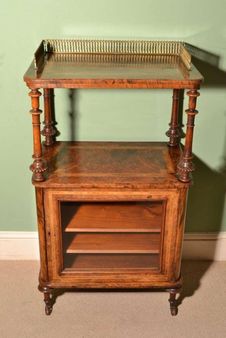 Antique Victorian Walnut And Amboyna Music Cabinet C 1860