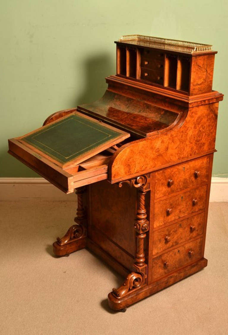 Antique Burr Walnut Pop Up Davenport Desk circa 1860 3 - Antique Burr Walnut Pop Up Davenport Desk Circa 1860 At 1stdibs