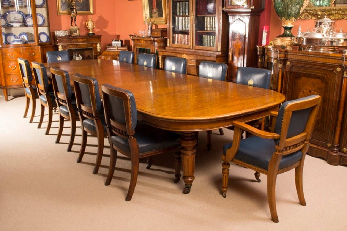 antique victorian oak dining table and 12 chairs
