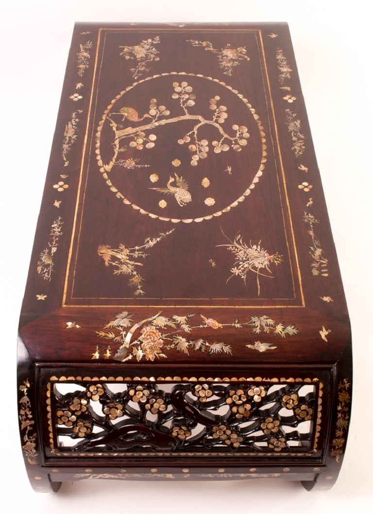 Chinese Rosewood And Mother Of Pearl Opium Coffee Table At
