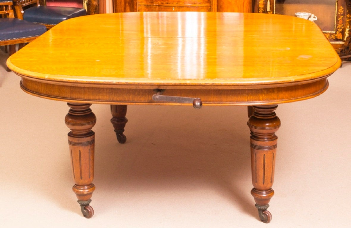 Antique Victorian Oak Dining Table And 12 Chairs At 1stdibs