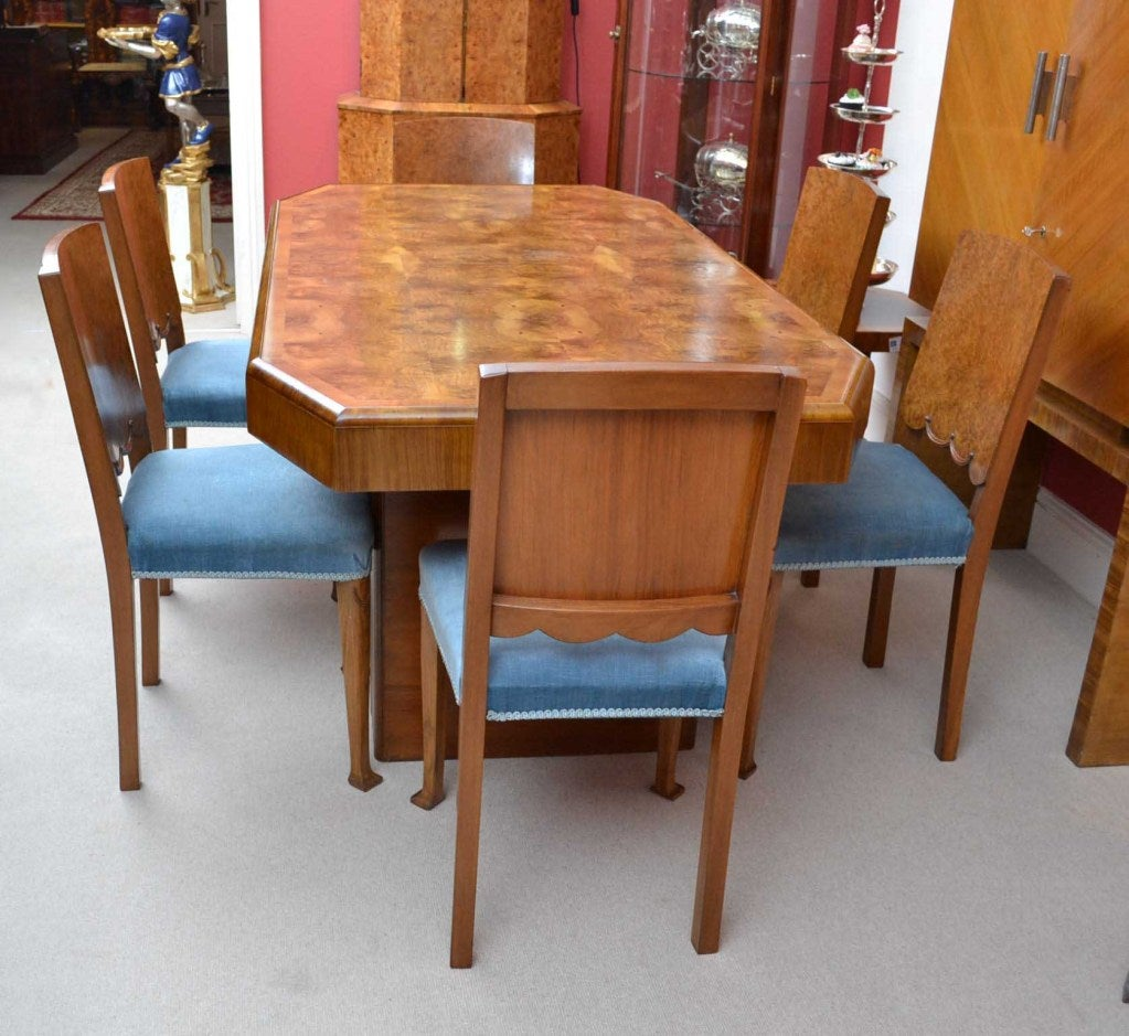 Antique Art Deco Burr Walnut Dining Table And 6 Chairs At
