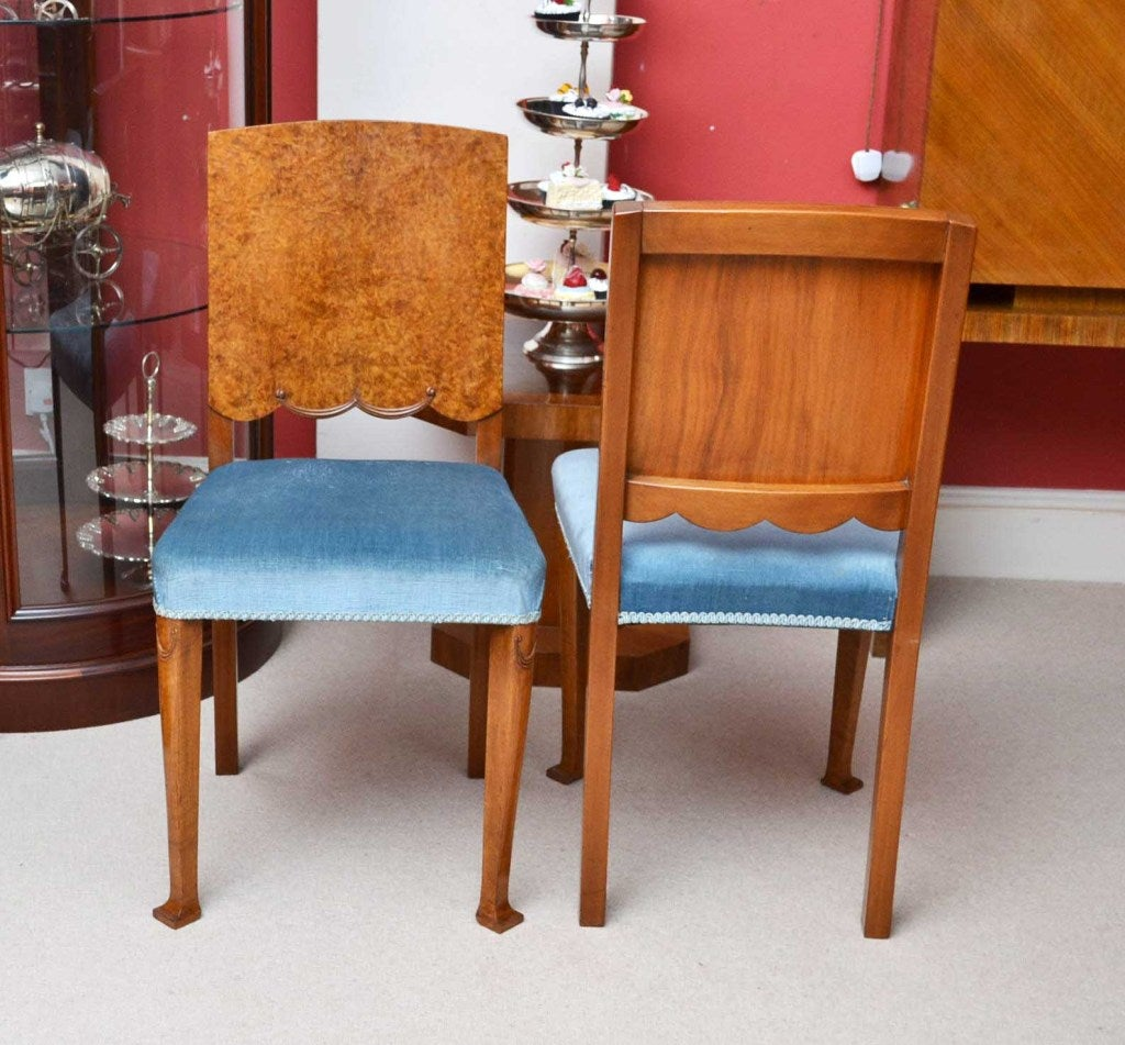 antique art deco burr walnut dining table and 6 chairs at 1stdibs