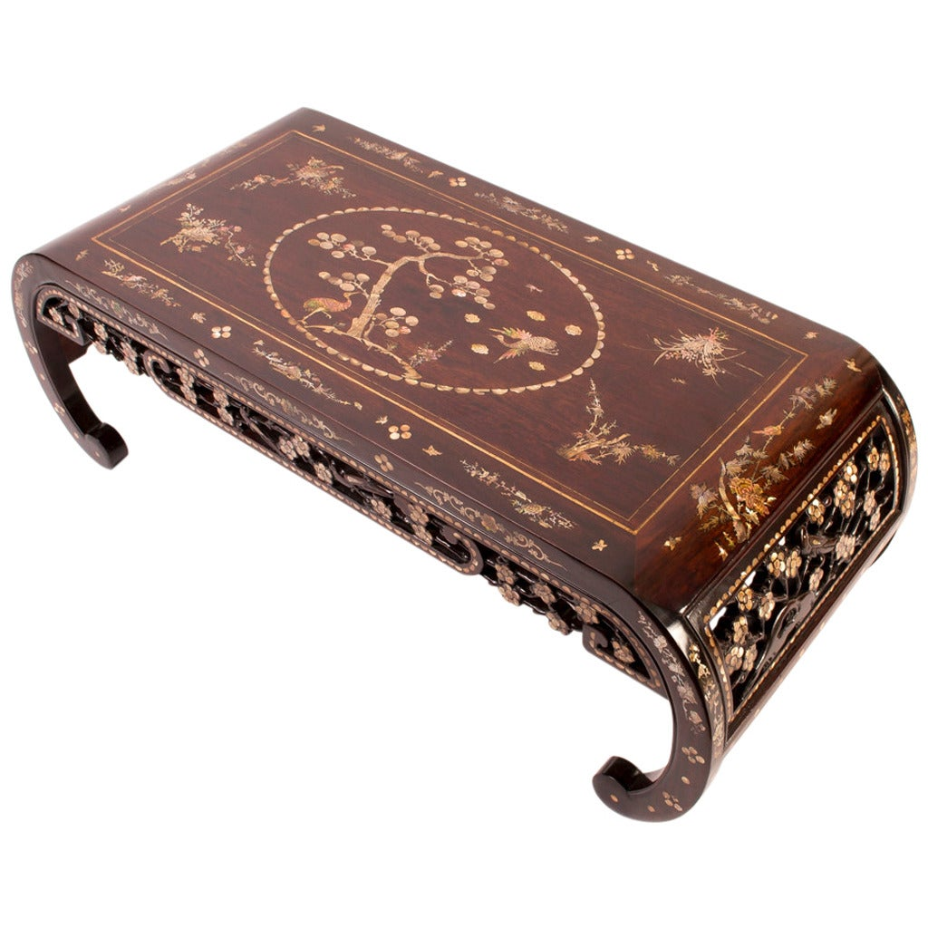 Chinese Rosewood And Mother Of Pearl Opium Coffee Table At 1stdibs